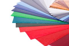 Color samples. Wood coating color samples on white background Stock Image