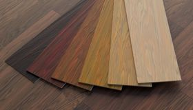 Color samples of wooden laminate floor. 3D rendered illustration. royalty free stock images