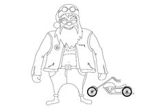 Color it. Santa Claus Biker Stock Image