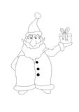 Color it. Santa Claus holds a  gift Royalty Free Stock Photo