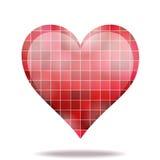 Color scarlatto astratto del mosaico 3D dell'icona del cuore Immagini Stock