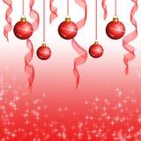 Color scarlatto delle sfere e bande su colore rosso Immagine Stock