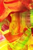 Color scarlatto verde e pittura acrilica astratta gialla Fotografia Stock