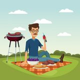 Color scene landscape of grill barbecue with bearded man drinking a soda in tablecloth over grass. Vector illustration Royalty Free Stock Photo