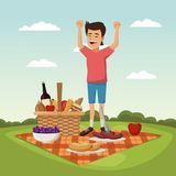 Color scene landscape of picnic basket and boy happiness over tablecloth grass. Vector illustration Stock Image