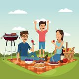 Color scene landscape of picnic basket with foods and beverage with family in grass Stock Photos
