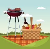 Color scene landscape of tablecloth picnic with food and beverages and grill barbecue in grass. Vector illustration Stock Photography