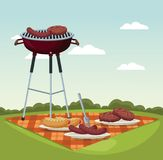 Color scene landscape of tablecloth picnic and grill barbecue in grass. Vector illustration Royalty Free Stock Image