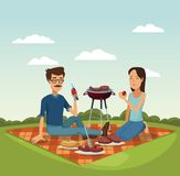 Color scene landscape of tablecloth picnic and grill barbecue in grass with man and woman. Vector illustration Royalty Free Stock Photo