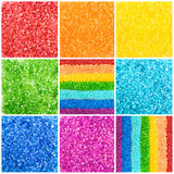 Color sea salt collage, rainbow, background Royalty Free Stock Photography