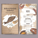 Color seafood restaurant menu template with sketch of grilled fish Royalty Free Stock Photos