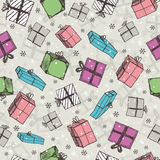 Color seamless background with christmas gifts ,  vector Royalty Free Stock Photography