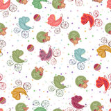 Color seamless children background of colored stars different strollers, toys. Baby seamless sets royalty free illustration