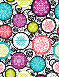 Color seamless pattern background with snowflakes and stars, ve stock image
