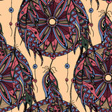 Color seamless pattern dream catcher with feathers Royalty Free Stock Photos