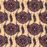 Color seamless pattern dream catcher with feathers Stock Images