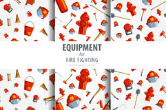Color  seamless pattern firefighter equipment. Flat icon background. Stock Images