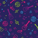 Color seamless pattern musical notes and guitars Royalty Free Stock Image