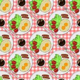 Color seamless pattern. Plate with breakfast top view. Fried eggs with sausages and tomatoes and black coffee vector illustration