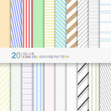 20 color seamless striped patterns. Set of color striped patterns, seamless vector backgrounds for your design Royalty Free Stock Image