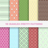 Color seamless vector patterns. Set of 10 color seamless vector creative patterns Royalty Free Stock Photography