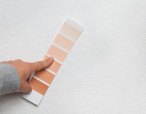Color selecting on wall Stock Photos