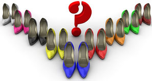 The color selection of women`s shoes. The concept. A lot of multi colored women`s shoes with high heels standing on a white surface with a red question symbol Royalty Free Stock Photo