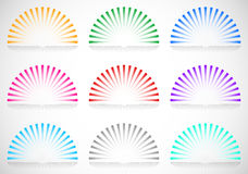6 color semi circle starburst / sunburst elements. Royalty free vector illustration Royalty Free Stock Images