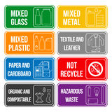 Color separated waste labels. Vector separate collection of waste labels set royalty free illustration