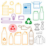 Color separated waste outlines icons. Vector outlines icons for separate collection of waste Stock Photo