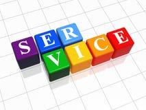 Color service. Service - white text on 3d color boxes Stock Image