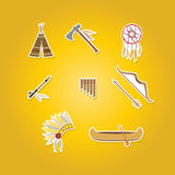 Color set with american indian icons Royalty Free Stock Photos