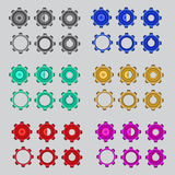 A color set auto cogwheel Stock Images