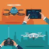 Color set banner of scene city landscape set remote control and tablet white modern robot drone. Vector illustration Stock Photography