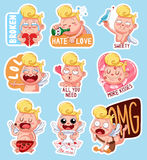 Color set of cupids for Valentine`s Day. Funny stickers with different emotions. Royalty Free Stock Photos