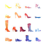 Color set of different shoes Royalty Free Stock Image