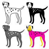 Color set of dogs on a white background. Dalmatian. Vector Royalty Free Stock Image
