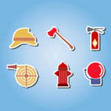Color set  with firefighter flat icons. For your design Royalty Free Stock Photo