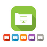 Color set of flat folder with computer Stock Image
