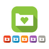 Color set of flat folder with heart Stock Photography