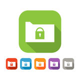 Color set of flat folder with lock Royalty Free Stock Photo
