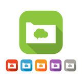 Color set of flat folder with speech bubble Stock Photos