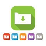 Color set of flat folder with upload sign Stock Photo