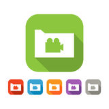 Color set of flat folder with video sign Royalty Free Stock Photos