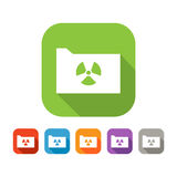 Color set of flat folder with virus sign Stock Images