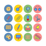 Color set of flat icons. Back to school. School supplies. Stock Photos