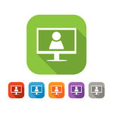 Color set of flat video chat icon Stock Photo