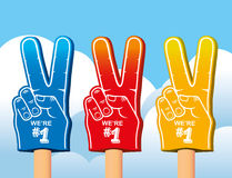 Color set of foam hand. Royalty Free Stock Photo