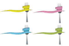 Color set of fork and measuring tape for a healthy. Lifestyle concept isolated royalty free stock image