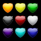 Color set of glass hearts on black for your design Royalty Free Stock Image